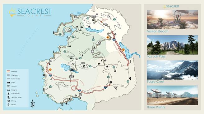 Hot Pursuit's gameworld map