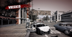 Burnout Paradise, wrecked player car.