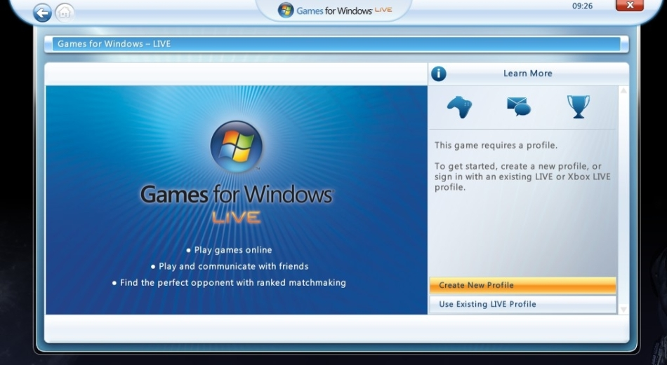 Games for windows live welcome screen