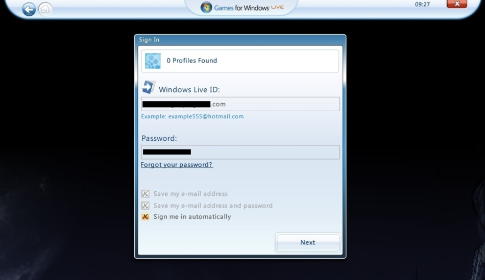 Games for windows live sing-in screen