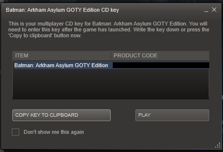 Steam notification of the digitally downloaded game's CD key