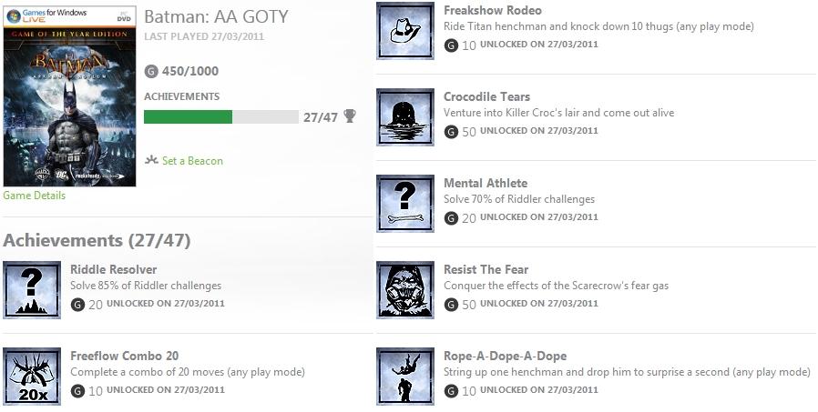 Xbox LIVE Batman Achievements