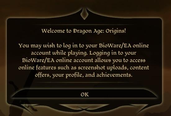 Dragon Age: Origins login prompt