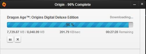 Origin download information window