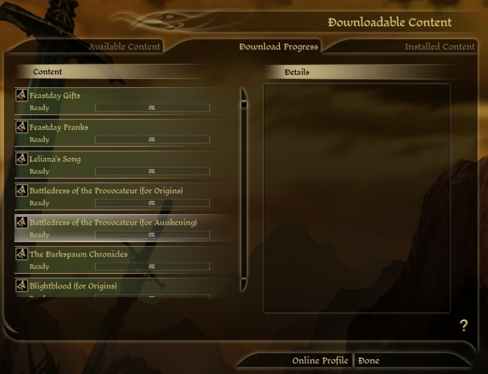 Dragon Age: Origins in-game DLC list