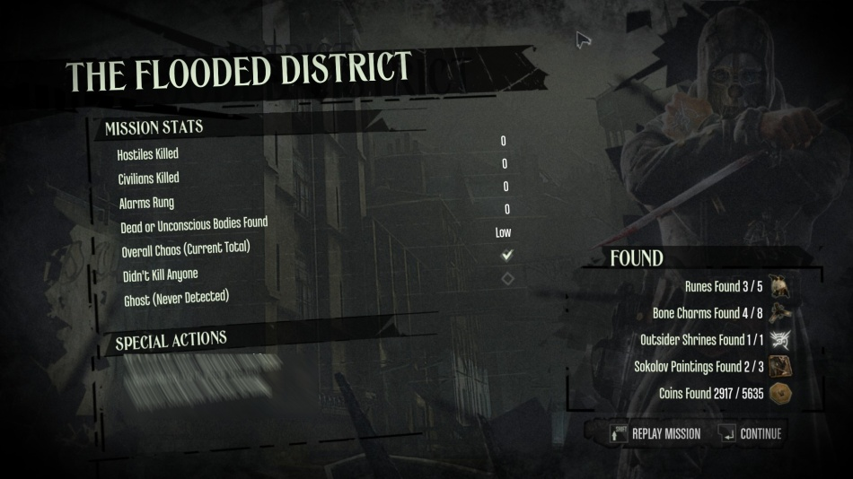 Dishonored: Mission Complete screen